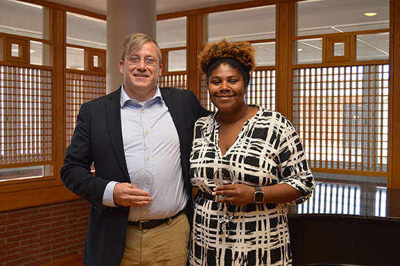Associate Professor Shawn Alexander, left, and graduate student Jylessa Hampton are among the recipients of the first University of Kansas Diversity Leadership Awards